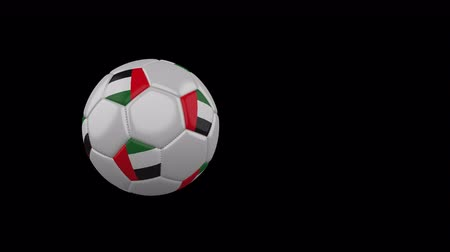 United Arab Emirates flag on a flying and rotating soccer ball on a transparent background, 4k prores footage with alpha channel