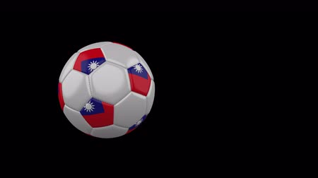 taipei : Taiwan flag on a flying and rotating soccer ball on a transparent background, 4k prores footage with alpha channel