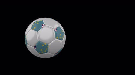 monarchie : Tuvalu flag on a flying and rotating soccer ball on a transparent background, 4k prores footage with alpha channel
