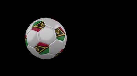 rotates : Vanatu flag on a flying and rotating soccer ball on a transparent background, 4k prores footage with alpha channel Stock Footage