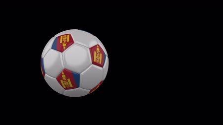 moğolistan : Mongolia flag on a flying and rotating soccer ball on a transparent background, 4k prores footage with alpha channel