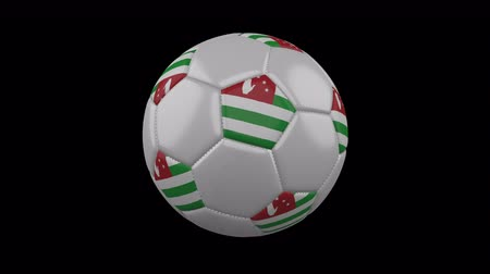 Abkhazia flag on a ball rotates on a transparent background, 4k prores footage with alpha transparency, loop