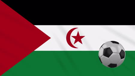 world cup : Western Sahara - Sahrawi Arab Democratic Republic flag and soccer ball rotates against background of a waving cloth, loop.