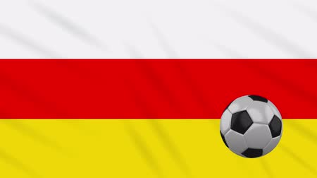 world cup : South Ossetia flag and soccer ball rotates against background of a waving cloth, loop. Stock Footage