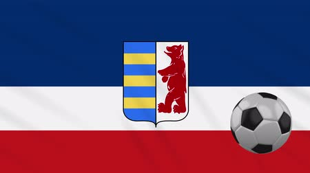 world cup : Carpathian Ruthenia flag and soccer ball rotates against background of a waving cloth, loop.