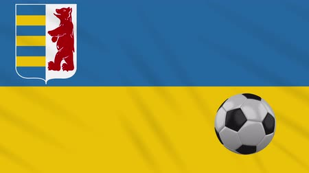 final : Zakarpattia Oblast flag and soccer ball rotates against background of a waving cloth, loop.