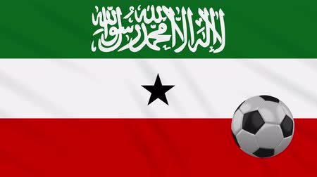 world cup : Somaliland flag and soccer ball rotates against background of a waving cloth, loop.