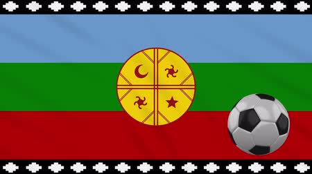 world cup : Mapuche flag and soccer ball rotates against background of a waving cloth, loop.