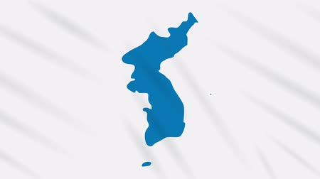 world cup : Unification flag of Korea waving cloth, ideal for background, loop. Stock Footage