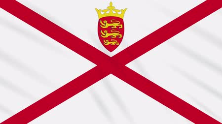 Parishes of Jersey flag waving cloth, ideal for background, loop.