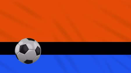 world cup : Chagos Islands flag and soccer ball rotates against background of a waving cloth, loop
