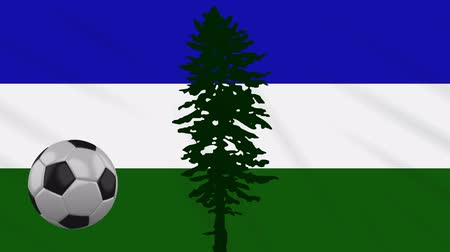 Cascadia flag and soccer ball rotates against background of a waving cloth, loop