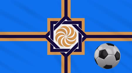 Western Armenia flag and soccer ball rotates against background of a waving cloth, loop