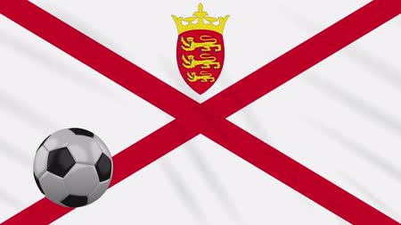 Parishes of Jersey flag and soccer ball rotates against background of a waving cloth, loop