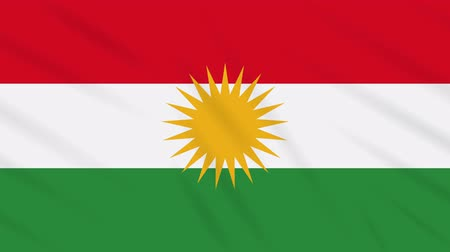 Kurdistan flag waving cloth, ideal for background, loop.