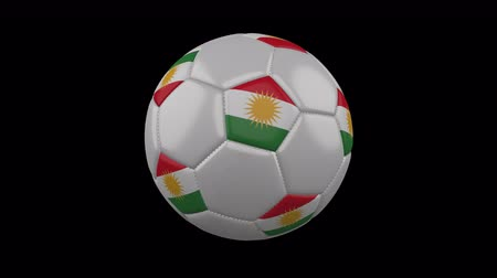 Kurdistan flag on a ball rotates on a transparent background, 4k prores footage with alpha transparency, loop Стоковые видеозаписи