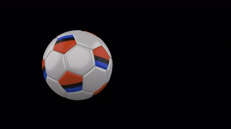Chagos Islands flag on a flying and rotating soccer ball on a transparent background, 4k prores footage with alpha channel Стоковые видеозаписи
