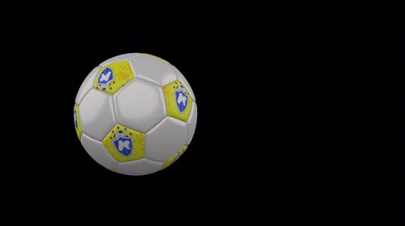 Panjab flag on a flying and rotating soccer ball on a transparent background, 4k prores footage with alpha channel