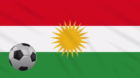 Kurdistan flag and soccer ball rotates against background of a waving cloth, loop.