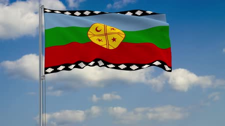 영토 : Flag of Mapuche against background of clouds floating on the blue sky.