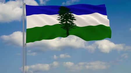 mastro de bandeira : Flag of Cascadia against background of clouds floating on the blue sky. Vídeos
