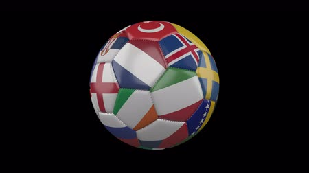 Flags of Europe on soccer ball rotating on transparent background, 4k footage with alpha channel, loop 2