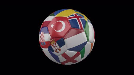 Flags of Europe on soccer ball rotating on transparent background, 4k footage with alpha channel, loop 3