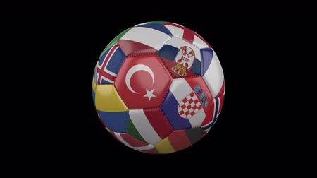 Flags of Europe on soccer ball rotating on transparent background, 4k footage with alpha channel, loop 4
