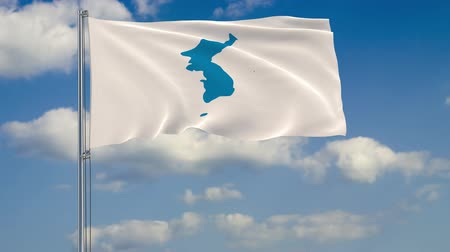 mastro de bandeira : Flag of Unification flag of Korea against background of clouds floating on the blue sky Vídeos