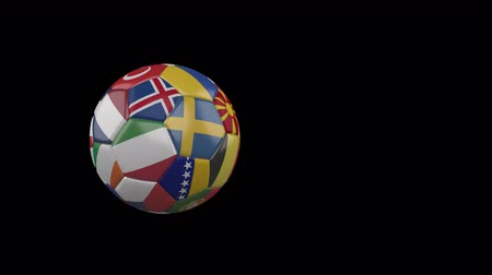 Flags of Euro 2 on slow flying and rotating soccer ball on a transparent background, 4k prores footage with alpha channel