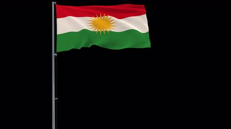 Kurdistan isolate flag on a flagpole fluttering in the wind on a transparent background, 3d rendering, prores 4444 4k footage with alpha transparency