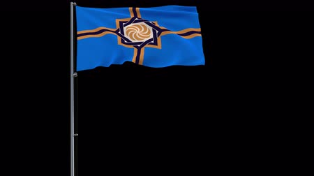 Western Armenia isolate flag on a flagpole fluttering in the wind on a transparent background, 3d rendering, prores 4444 4k footage with alpha transparency