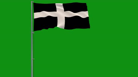 world cup : Kernow - Cornwall isolate flag on a flagpole fluttering in the wind on green chromakey background, 3d rendering, 4k footage