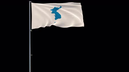 mastro de bandeira : Unification flag of Korea isolate flag on a flagpole fluttering in the wind on a transparent background, 3d rendering, prores 4444 4k footage with alpha transparency