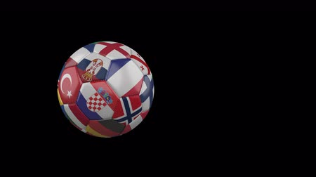 Flags of Euro 4 on slow flying and rotating soccer ball on a transparent background, 4k prores footage with alpha channel