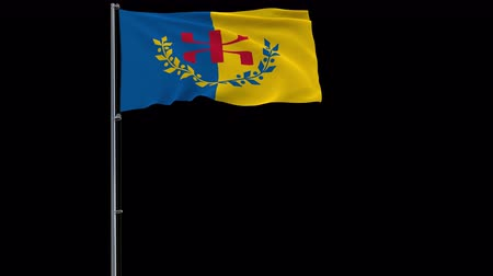 Kabylia isolate flag on a flagpole fluttering in the wind on a transparent background, 3d rendering, prores 4444 4k footage with alpha transparency