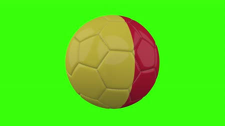 futball labda : Belgium flag on a ball rotates on a transparent green background, 4k prores footage with alpha transparency, loop