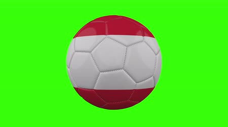 futball labda : Austria flag on a ball rotates on a transparent green background, 4k prores footage with alpha transparency, loop