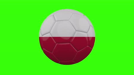 futball labda : Poland flag on a ball rotates on a transparent green background, 4k prores footage with alpha transparency, loop Stock mozgókép