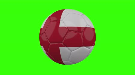 futball labda : England flag on a ball rotates on a transparent green background, 4k prores footage with alpha transparency, loop Stock mozgókép