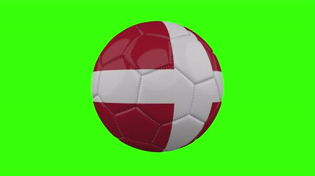 futball labda : Denmark flag on a ball rotates on a transparent green background, 4k prores footage with alpha transparency, loop Stock mozgókép
