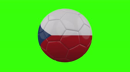 futball labda : Czech Republic flag on a ball rotates on a transparent green background, 4k prores footage with alpha transparency, loop