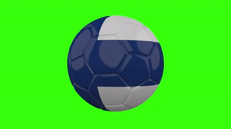 futball labda : Finland flag on a ball rotates on a transparent green background, 4k prores footage with alpha transparency, loop Stock mozgókép