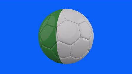futball labda : Italy flag on a ball rotates on a transparent blue background, 4k prores footage with alpha transparency, loop