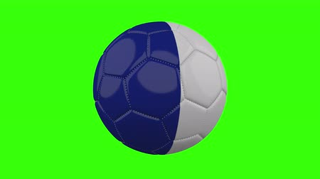 futball labda : France flag on a ball rotates on a transparent green background, 4k prores footage with alpha transparency, loop