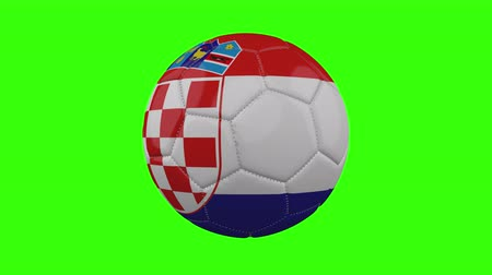 futball labda : Croatia flag on a ball rotates on a transparent green background, 4k prores footage with alpha transparency, loop