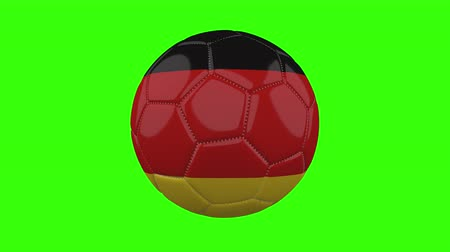 futball labda : Germany flag on a ball rotates on a transparent green background, 4k prores footage with alpha transparency, loop