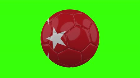 futball labda : Turkey flag on a ball rotates on a transparent green background, 4k prores footage with alpha transparency, loop