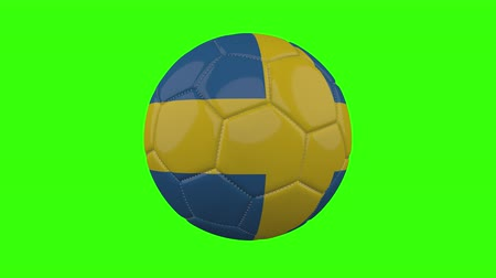 futball labda : Sweden flag on a ball rotates on a transparent green background, 4k prores footage with alpha transparency, loop