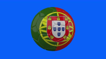 futball labda : Portugal flag on a ball rotates on a transparent blue background, 4k prores footage with alpha transparency, loop